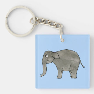 Asian Elephant, on light blue. Key Ring