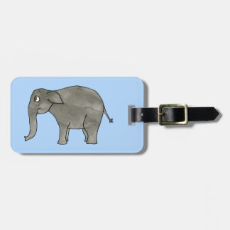 Asian Elephant, on light blue. Luggage Tag