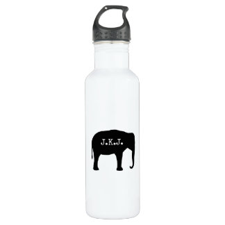 Asian Elephant Silhouette with Your Text 710 Ml Water Bottle