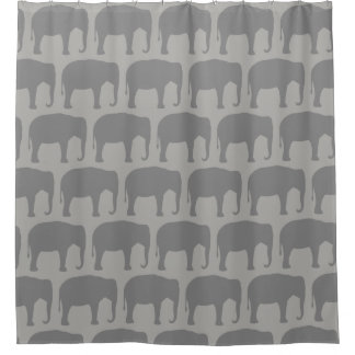 Asian Elephant Silhouettes Pattern Shower Curtain