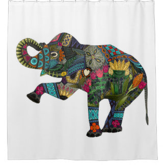 asian elephant white shower curtain