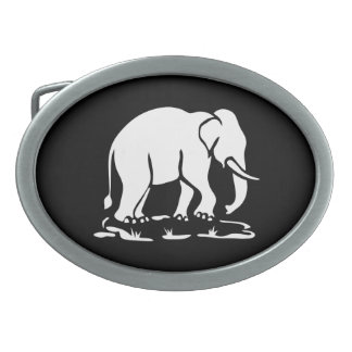 Asian Elephants Ahead Thai Elephant Trekking Sign Oval Belt Buckles