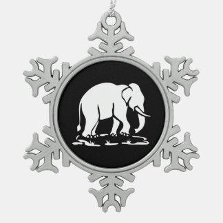 Asian Elephants Ahead Thai Elephant Trekking Sign Snowflake Pewter Christmas Ornament