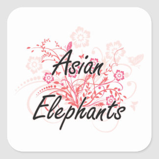 Asian Elephants with flowers background Square Sticker