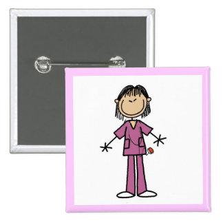 Asian Female Stick Figure Nurse 15 Cm Square Badge