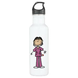 Asian Female Stick Figure Nurse 710 Ml Water Bottle