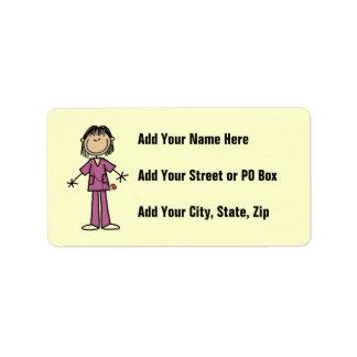 Asian Female Stick Figure Nurse Address Label
