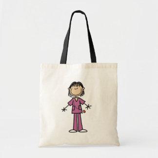 Asian Female Stick Figure Nurse Budget Tote Bag