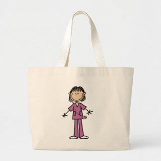 Asian Female Stick Figure Nurse Jumbo Tote Bag