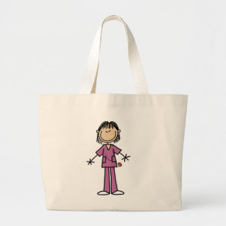 Asian Female Stick Figure Nurse Large Tote Bag