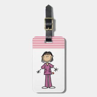 Asian Female Stick Figure Nurse Luggage Tag