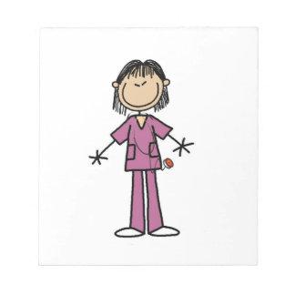 Asian Female Stick Figure Nurse Note Pad