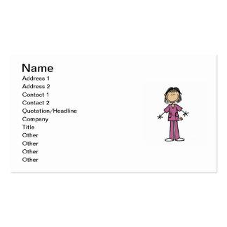 Asian Female Stick Figure Nurse Pack Of Standard Business Cards