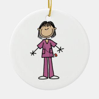 Asian Female Stick Figure Nurse Round Ceramic Decoration