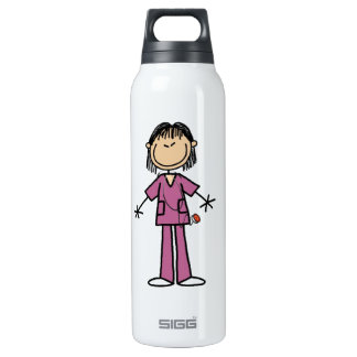 Asian Female Stick Figure Nurse 16 Oz Insulated SIGG Thermos Water Bottle