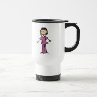 Asian Female Stick Figure Nurse Stainless Steel Travel Mug