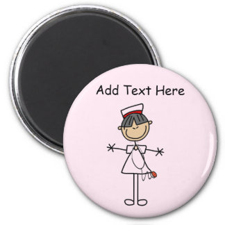 Asian Female Stick Figure Nurse T-shirts and Gifts 6 Cm Round Magnet