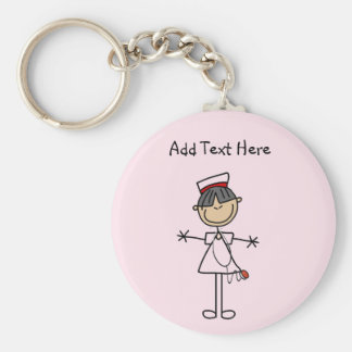 Asian Female Stick Figure Nurse T-shirts and Gifts Basic Round Button Key Ring