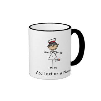Asian Female Stick Figure Nurse T-shirts and Gifts Ringer Mug