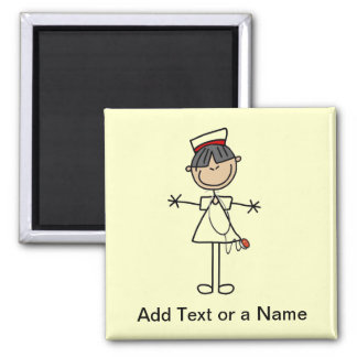 Asian Female Stick Figure Nurse T-shirts and Gifts Square Magnet