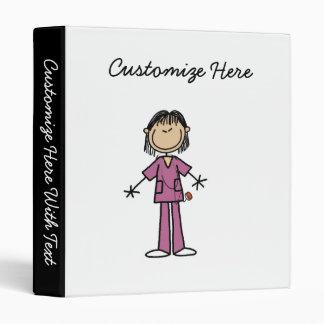 Asian Female Stick Figure Nurse Vinyl Binders