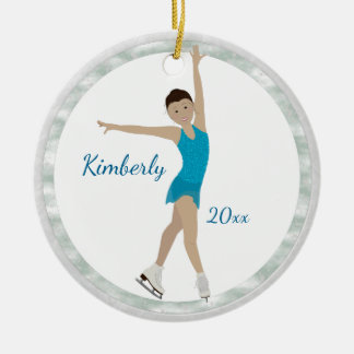 Asian Figure Skater In Teal Christmas Ornament
