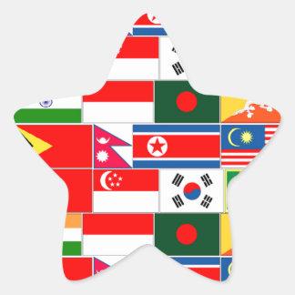 Asian Flags Star Sticker