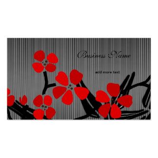 Asian Floral Red Black Silver Grey Bamboo Business Card Templates