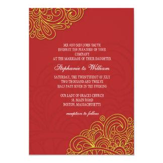 "Asian Floral Swirl Wedding Invitation 5"" X 7"" Invitation Card"