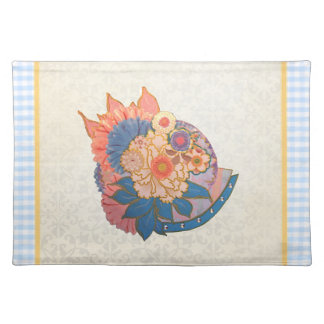 Asian Flower Collage art Placemat