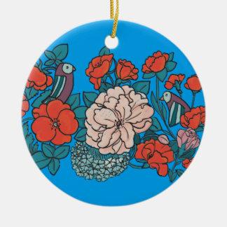 Asian flower sea round ceramic decoration