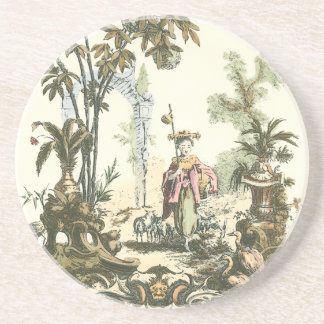 Asian Garden with Woman and Animals Coaster