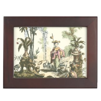 Asian Garden with Woman and Animals Keepsake Box