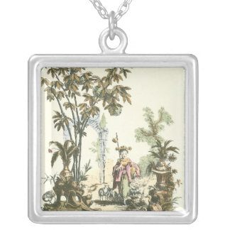 Asian Garden with Woman and Animals Silver Plated Necklace