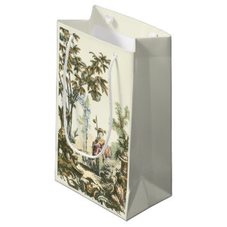 Asian Garden with Woman and Animals Small Gift Bag