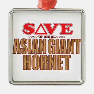 Asian Giant Hornet Save Silver-Colored Square Decoration
