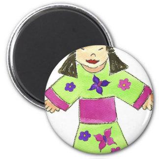 Asian Girl 6 Cm Round Magnet