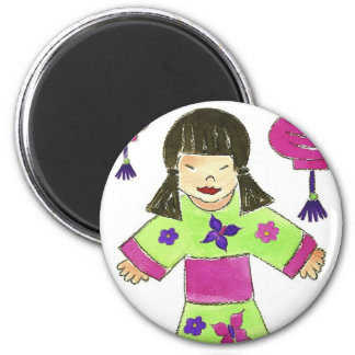 Asian Girl and Paper Lanterns 6 Cm Round Magnet