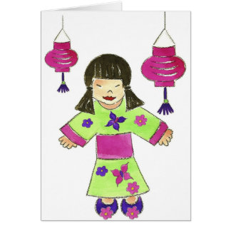 Asian Girl and Paper Lanterns Greeting Card