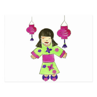 Asian Girl and Paper Lanterns Postcard