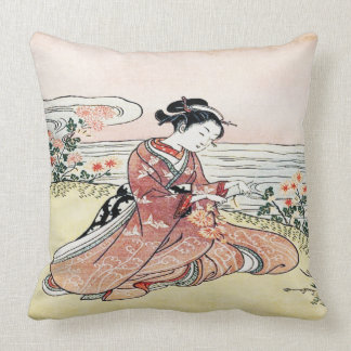 Asian Girl by the Lake Pillow Cushion
