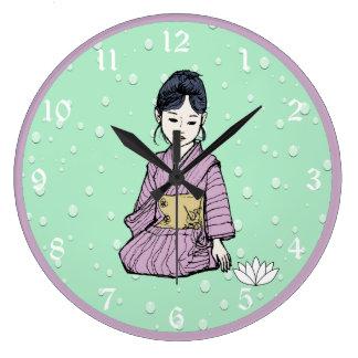 Asian Girl in Pink Mauve Kimono White Lotus Water Large Clock