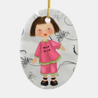 Asian Girl - SRF Christmas Ornament