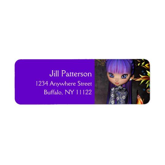 Asian Girl with Purple Hair Return Address Labels