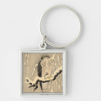 Asian Goshawk Painting Key Ring