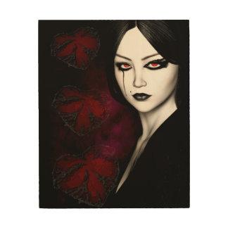 Asian gothic wood print