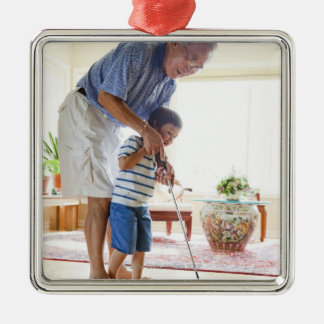 Asian Grandfather teaching his Half-Asian Silver-Colored Square Decoration