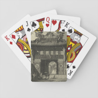 Asian Imperial Temple in Black & White Playing Cards