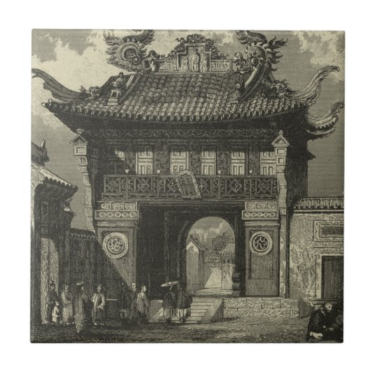 Asian Imperial Temple in Black & White Tile