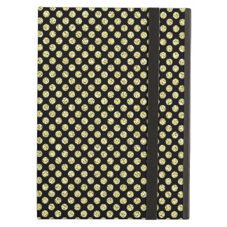 Asian Inspired Gold Glitter Dots on Black Cover For iPad Air